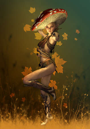 a fly agaric: 3D computer graphics of a fairy with a fly agaric hat