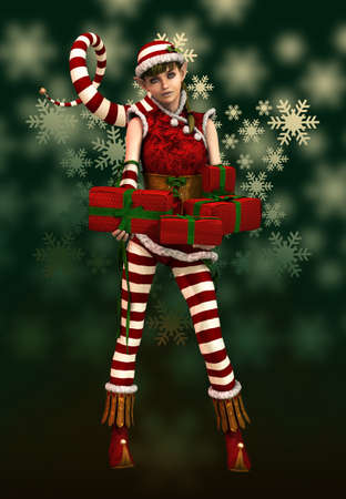 3d computer graphics of a cute Christmas elf with pointed cap and xmas presents photo