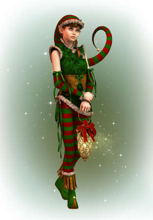3d computer graphics of a cute Christmas elf with pointed cap and lantern photo