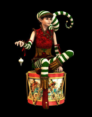 pointed: 3d computer graphics of a cute Christmas elf with pointed cap and drum Stock Photo