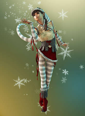 3d computer graphics of a cute Christmas elf with pointed cap and snowflakes photo