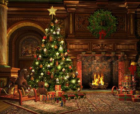 크리스마스 이브에 거실의 3D 컴퓨터 그래픽 스톡 콘텐츠