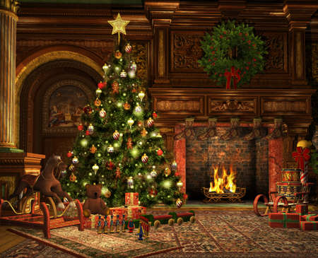3D computer graphics van een woonkamer op kerstavond Stockfoto