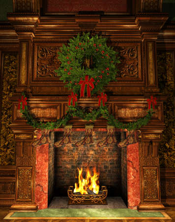 3d Computer Graphics of a Fireplace decorated for Christmas with Holly Wreath, Garland and Stockings