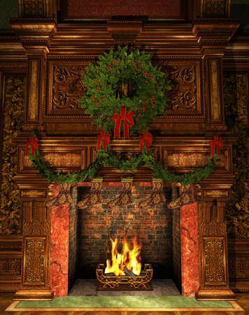 3D Computer Graphics van een open haard ingericht voor de kerst met de Kroon van de Hulst, Garland en Kousen