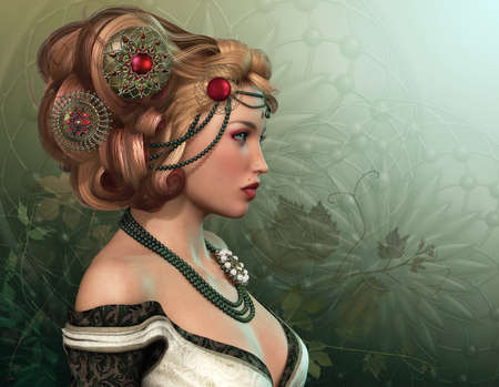 fantasy girl: 3D computer graphics of a blond lady with fantasy hairstyle Stock Photo