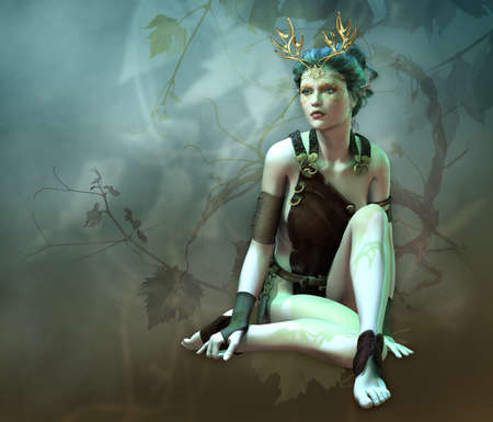 3D computer graphics of a girl with a golden antlers as headdress and vines