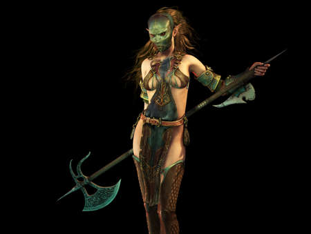 fantasy woman: 3d  fantasy computer graphics of a woman with a iron mask and a long battle axe