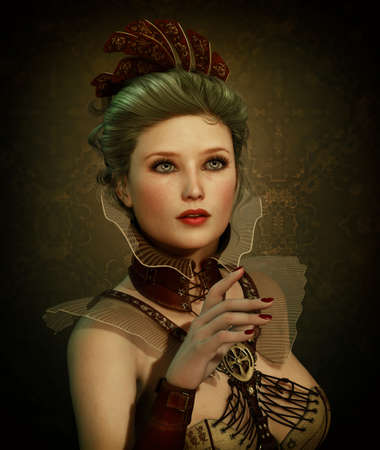 cuffs: 3D computer graphics of a young woman in Steampunk fashion style Stock Photo