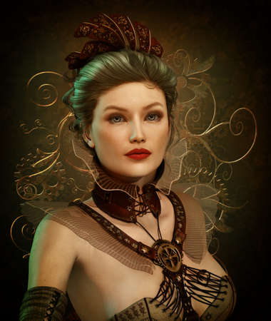 belle: 3D computer graphics of a young woman in Steampunk fashion style Stock Photo