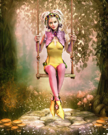 3D computer graphics of a cute fairy sitting on a swing photo