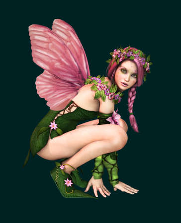 fairy woman: 3d computer graphics of a fairy with butterfly wings