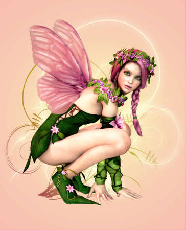 graphic illustration: 3d computer graphics of a fairy with butterfly wings