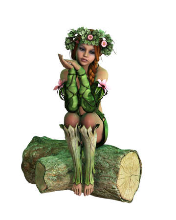fantasy fairy: 3D computer graphics of a girl with a wreath on her head, sitting on a tree stump