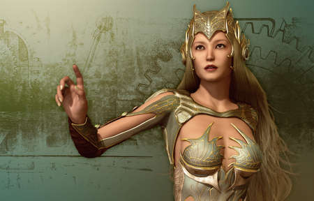 3D computer graphics of a young woman in a fantasy armor photo