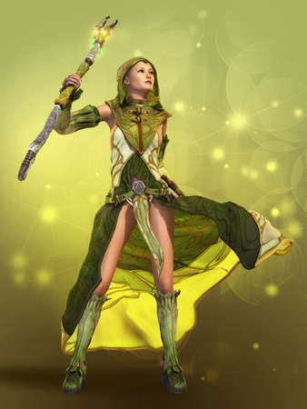 fantasy girl: 3D computer graphics of a young woman in a fantasy dress