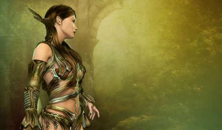 컴퓨터 그래픽: 환상의 드레스에서 젊은 여자의 3 차원 컴퓨터 그래픽