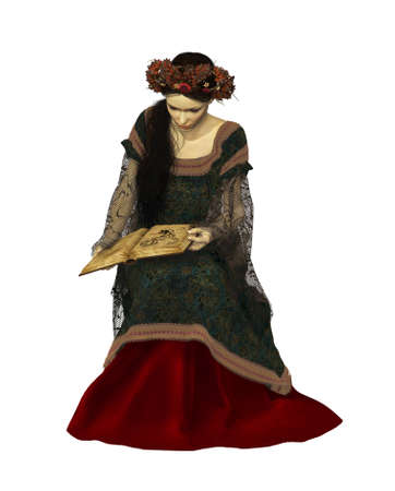 3d computer graphics of a lady in a medieval gown reading a book