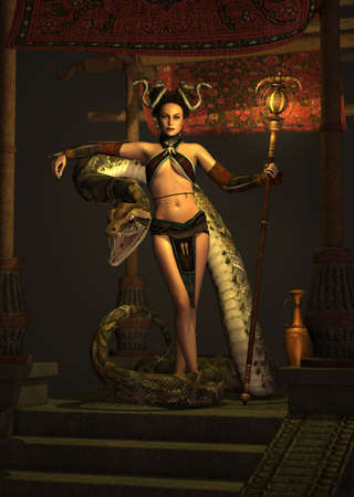woman stairs: 3d computer graphics of a fantasy scene with girl and snake