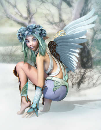 3D computer graphics of a cheeky little fairy in a winter landscape Stock Photo