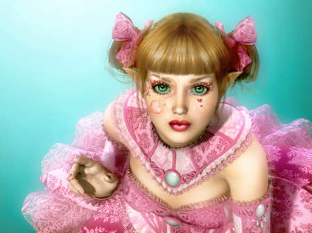 3d computer graphics of a girl in a dress in Lolita style and fantasy make-up