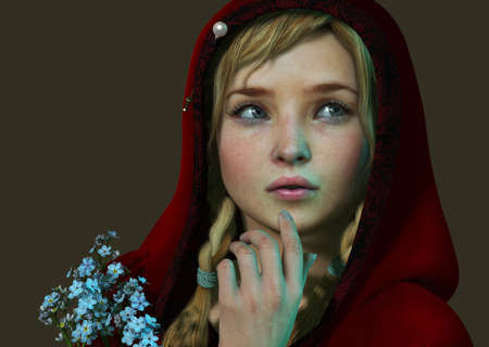 braids: 3D computer graphics of a girl with a red hood and a bouquet of forget me not