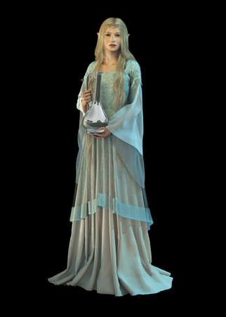 3d computer graphics of an elven princess with a silver carafe in their hands
