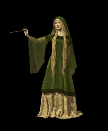 middle age women: 3d computer graphics of a fairy with a magic wand in a medieval garb Stock Photo