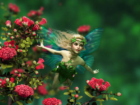 enchanted forest: 3d computer graphics of a flying fairy with blond hair and butterfly wings