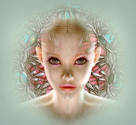 sci fi: 3d computer graphics of a fantasy face with ornament