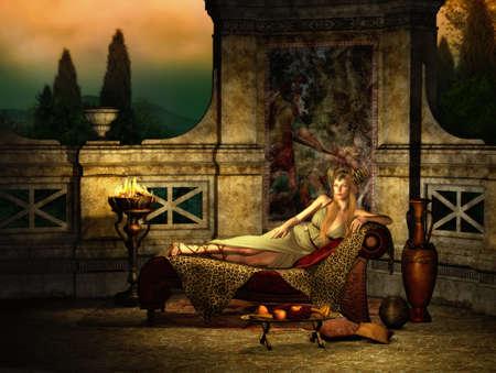 divan: Gráficos por ordenador en 3D de una escena de fantasía con la chica en un estilo romano antiguo