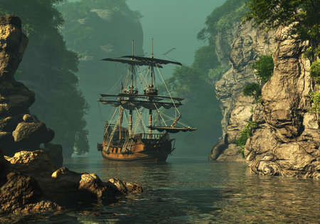 privateer: a sailing ship of the 16th Century anchored between high rocks in shallow waters, 3d computer graphics Stock Photo