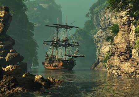 een zeilschip van de 16e eeuw voor anker tussen de hoge rotsen in ondiep water, 3D computer graphics
