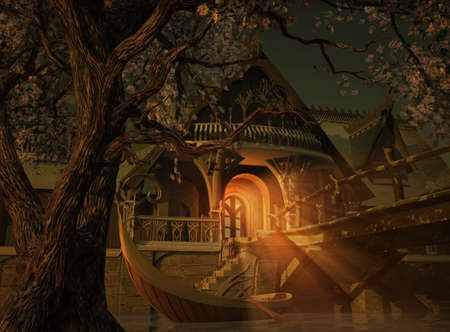 een scène met een Elvenhouse, een houten brug en een Elvenboat Stockfoto