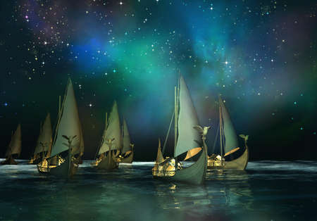 fleet: 3d Computer graphic of elven ships, which sailing across the sea Stock Photo