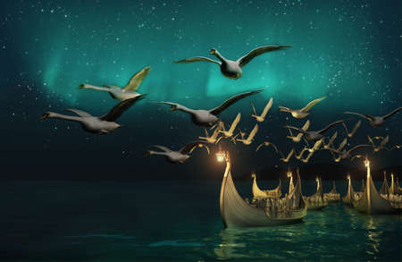 lamplight: 3d Computer graphics of a seascape with elven boats, swans fly ahead