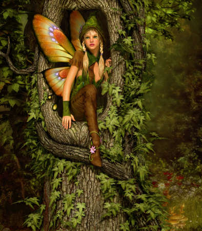 enchanted forest: 3d computer graphics of a fairy with a wreath on her head, squatting in a knothole of a tree Stock Photo