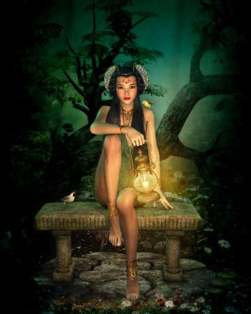 컴퓨터 그래픽: 랜턴 숲에 벤치에 앉아 여자의 3D 컴퓨터 그래픽