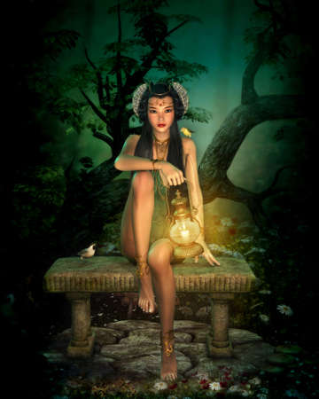 enchanting: 3d computer graphics of  a girl with lantern sitting on a bench in the forest Stock Photo