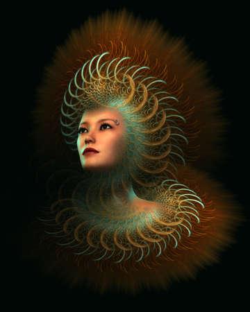 portret van een dame met fantasierijke kleding