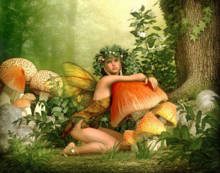 sfondo giungla: 3D computer grafica di una fata con una corona sulla sua testa, pendente nei confronti di un fungo Archivio Fotografico