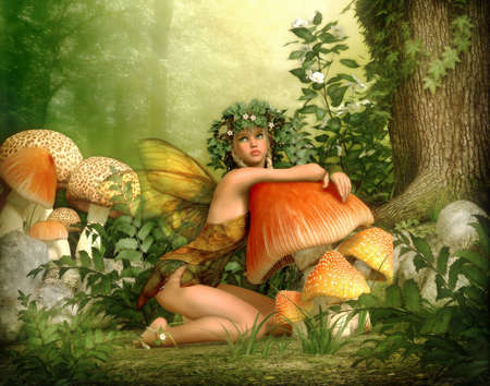 3d computer graphics of a fairy with a wreath on her head, leaning against a fungus Stock Photo