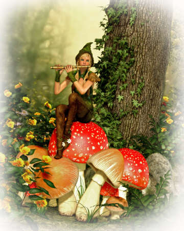 3d computer graphics of a forest fairy with a flute sitting on a toadstool Stock Photo