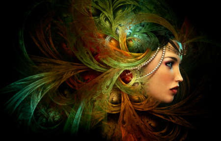 fantasy makeup: 3D computer graphics of a Portrait of a Lady with abstract headgear