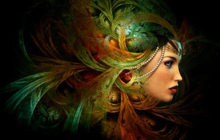 maquillaje de fantasia: Gr�ficos por ordenador en 3D de un Retrato de una dama con el sombrero abstracto Foto de archivo