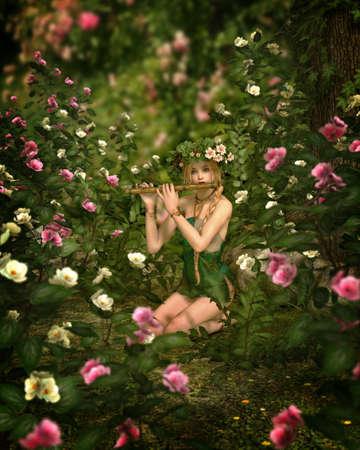 컴퓨터 그래픽: 소녀는 장미 정원, 3D 컴퓨터 그래픽보기에서 플루트를 재생하는 스톡 사진