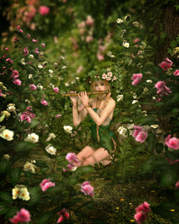 fantasy fairy: a girl is playing the flute in a rose garden, 3d computer graphics