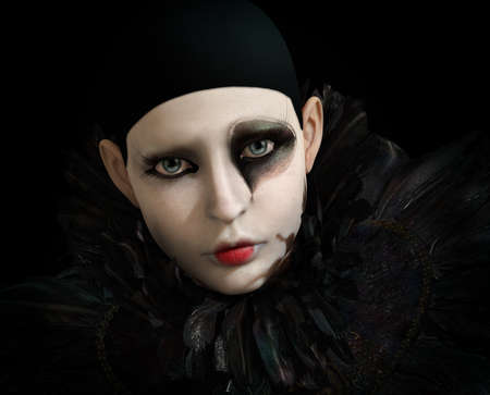 3D computer graphics of a Pierrot with black feather collar