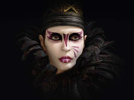 fantasy makeup: Gráficos por ordenador en 3D de un Retrato de una señora con maquillaje de fantasía, sombrero y cuello de plumas Foto de archivo