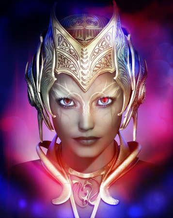 maquillaje de fantasia: Gráficos por ordenador en 3D de un retrato de una mujer con casco de metal en el estilo de la fantasía